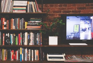 Books and monitor
